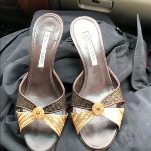 Manolo Blahnik Brown & Tan Kitten Heels with Shiny